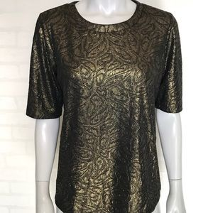 {ann taylor} metallic colored short sleeve blouse
